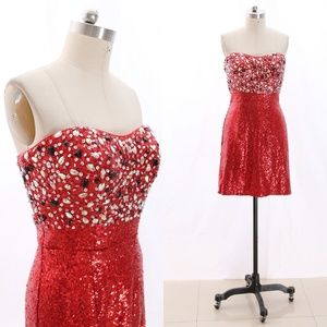 Strapless Sequin Red Cocktail / Homecoming Dress